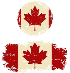 Canadian round and square grunge flags vector