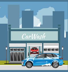 Car wash station city landscape vector