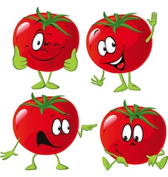 Cartoon tomato with many expression hand and leg vector