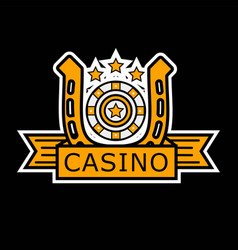Casino poker logo template gambler roulette and vector