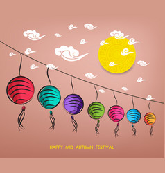chinese lantern festival mid autumn festival vector image