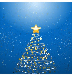Christmas tree over blue vector image