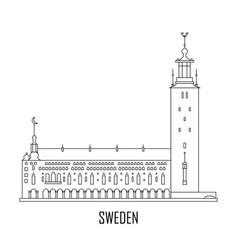 city hall in stockholm sweden vector image