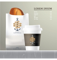 Coffee and bread set menu vector image