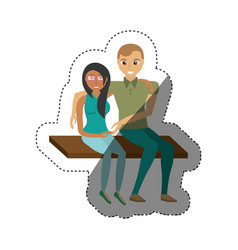 Couple sitting happy lovely shadow vector