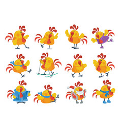 Cute cartoon roosters flat icon set vector