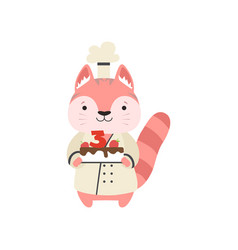 Cute cat in chef uniform cartoon animal character vector