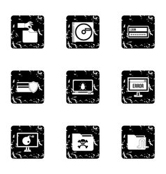 Ddos attack icons set grunge style vector