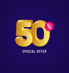 Discount 50 special offer label template design vector