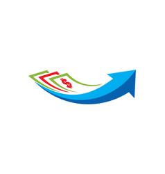 Dollar investment arrow business logo vector