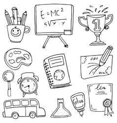 Doodle hand draw school education vector