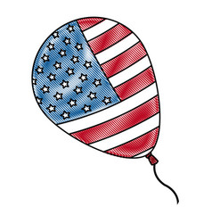 Drawing balloon flag american decoration event vector