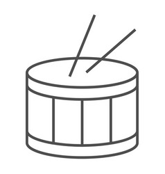 Drum thin line icon music and beat instrument vector