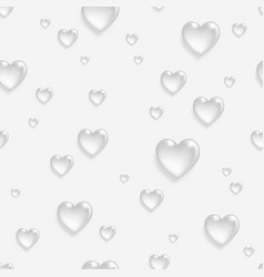 Faded seamless pattern with 3d hearts vector