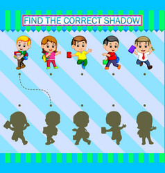 Find correct shadow cartoon students holding vector