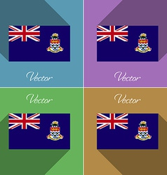 Flags Cayman Islands Set of colors flat design and vector image
