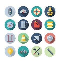 Flat design icons for transportation vector