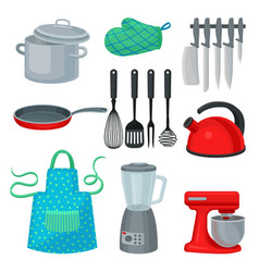Flat set kitchenware modern electric vector