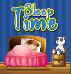 font design for word sleep time with girl vector image