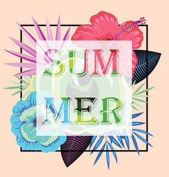 frame with slogan summer on tropical leaves vector image