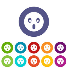 frightened emoticon set icons vector image