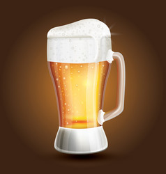 Glass beer on a brown gradient background vector