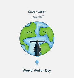globewater drop and water tap iconthe globe vector image