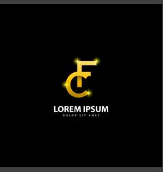Gold letter f logo fc letter design with golden vector