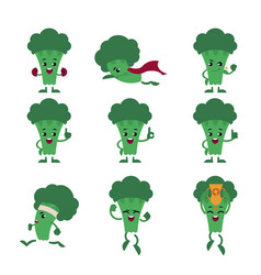green fresh broccoli character set isolated on vector image
