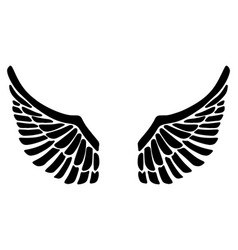 hand drawn eagle wings isolated on white vector image