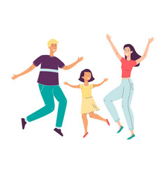 happy family jumping and smiling - cartoon parents vector image