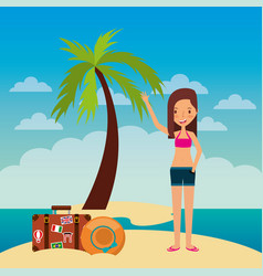 happy young girl in beach with suitcase and hat vector image