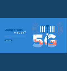 Harmful 5g tower radiation wave concept template vector
