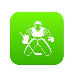hockey goalkeeper icon digital green vector image