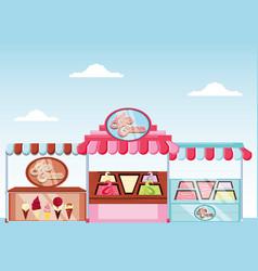 Ice cream kiosk and showcase vector