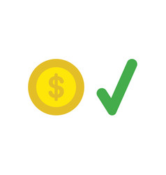 icon concept of dollar coin with check mark vector image