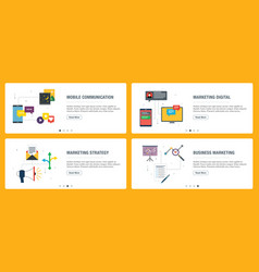 internet banner set communication marketing vector image