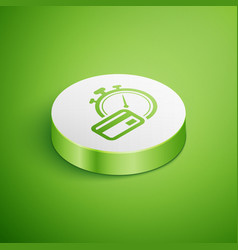 Isometric fast payments icon isolated on green vector