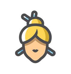 japanese girl head icon cartoon vector image