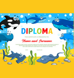 kids diploma certificate with sea animals vector image