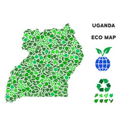 Leaf green mosaic uganda map vector