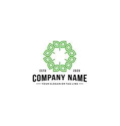 Leaf ornament logo vintage style vector