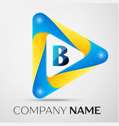Letter b symbol in the colorful triangle vector