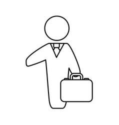 Line businessman with suit and briefcase vector