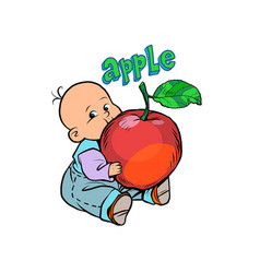Little baby favorite cute baby eating an apple vector