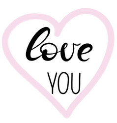 love you lettering in heart shaped frame vector image