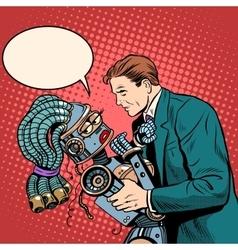 Man girl robot Love and computer technology vector