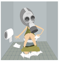 Man in the gas mask sitting in the toilet vector