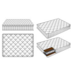 mattress bedding bed mockup set realistic style vector image