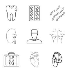 Medical adviser icons set outline style vector